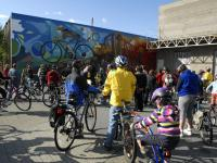 Bike tour inauguration of Crossings mural